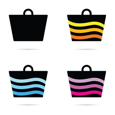 carrier: carrier bag set icon illustration Illustration