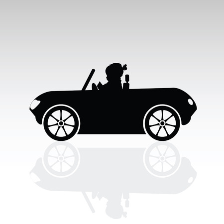 cute baby girls: child sweet drive car silhouette illustration on grey Illustration