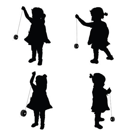 yo: children cute with yo yo illustration silhouette Illustration