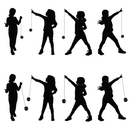 yo: children with yo yo illustration silhouette