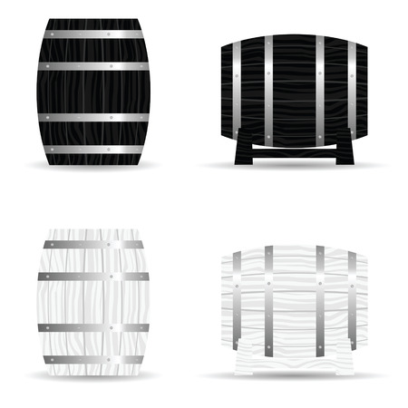 wood creeper: barrel wooden set icon illustration in black and white