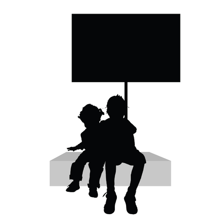 cute baby girls: children with board illustration silhouette