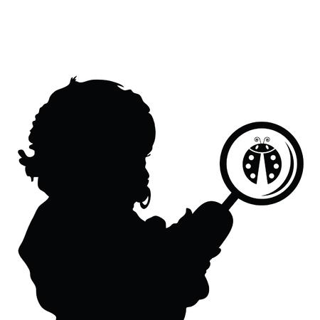 ladybug: child with ladybug silhouette illustration in black