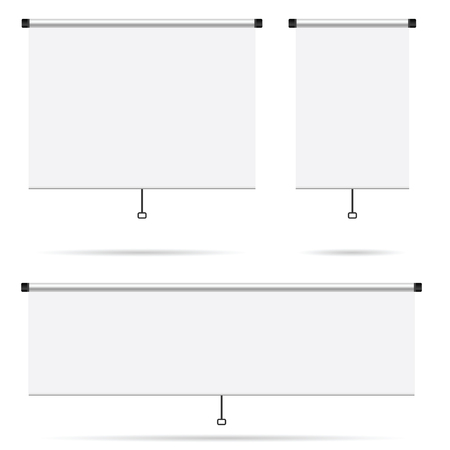 projector screen: projector screen set blank illustration