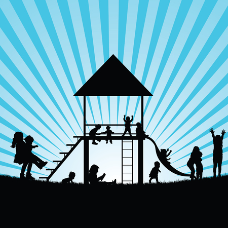 toboggan: children on toboggan and gadgets for play illustration silhouette