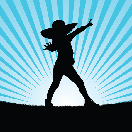 child standing: child with hat pose in nature silhouette illustration in blue Illustration