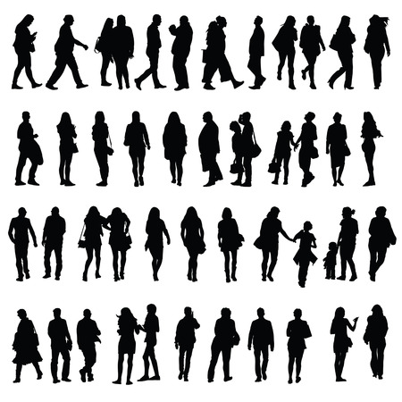 people silhouette illustration in black color