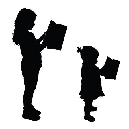 book silhouette: children read book silhouette illustration in black