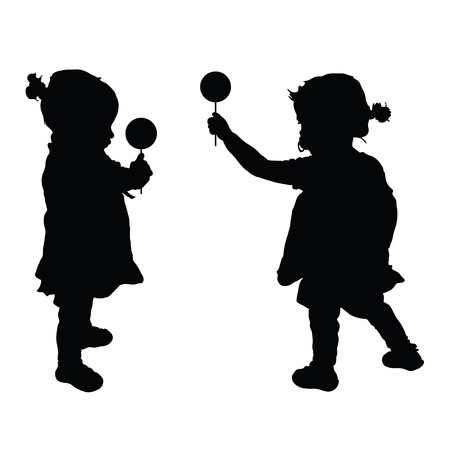 child girl: child set with lollipop silhouette illustration