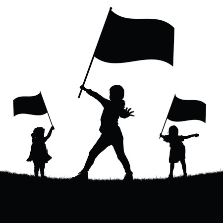 cute baby girls: children with flag silhouette illustration in nautre