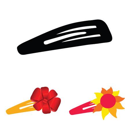 hairclip: hairclip set color illustration
