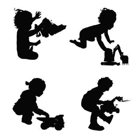 baby playing toy: children with toys silhouette illustration in black Illustration