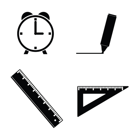 straightedge: straightedge and clock illustration in black color