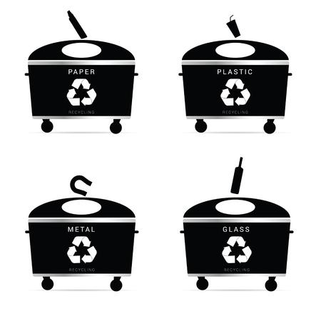 botes de basura: botes de basura recicla la ilustración en color negro Vectores