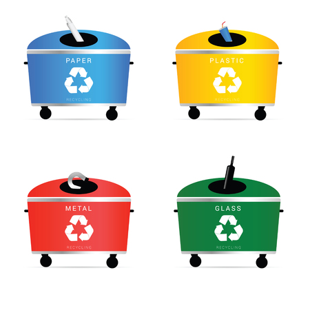 botes de basura: botes de basura establece la ilustración en colores