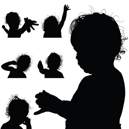 playful: child playful set illustration silhouette