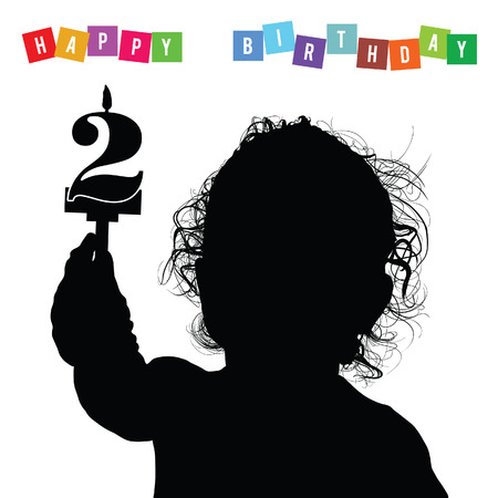 adolescent: child birthday silhouette illustration with candle Illustration