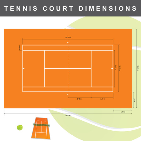 dimensions: tennis court with dimensions illustration in colorful