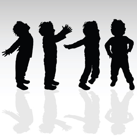 adolescent: boy in various pose set silhouette illustration