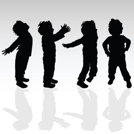 boy in various pose set silhouette illustration