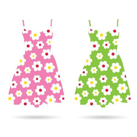 elegant woman: dresses in color set illustration Illustration