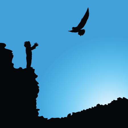 precipice: boy on cliff silhouette illustration with bird