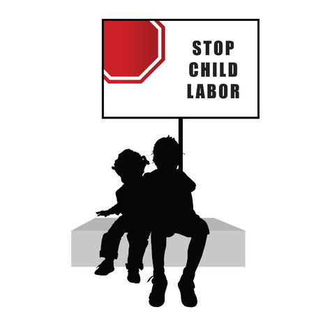 trafficking: children with humain trafficking sign illustration silhouette