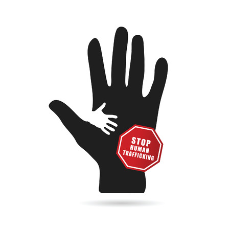 trafficking: stop humain trafficking icon illustration in colorful