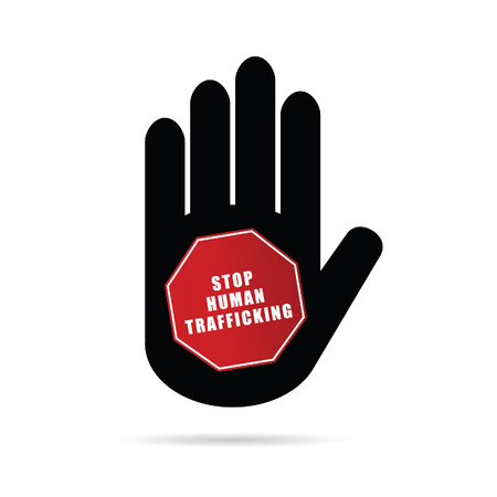 trafficking: stop humain trafficking illustration in hand Illustration
