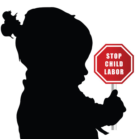 trafficking: child with stop humain trafficking sign illustration sillhouette