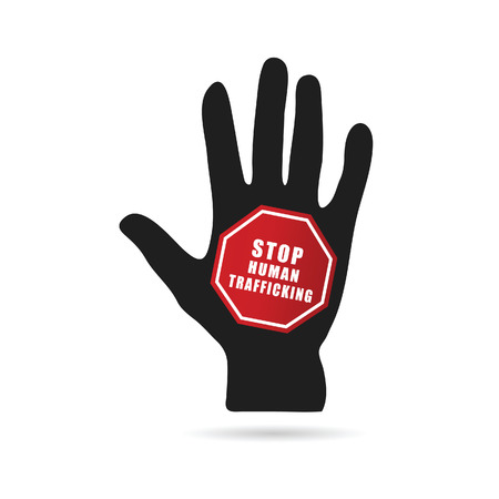 trafficking: stop humain trafficking icon illustration with hand in colorful