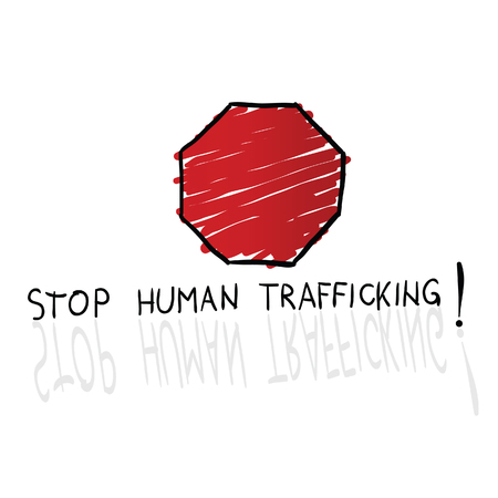 trafficking: stop trafficking sign cartoon illustration in colorful