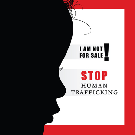 child with humain trafficking sign illustration silhouette