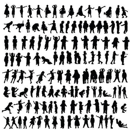 children happy silhouette illustration in black color  イラスト・ベクター素材