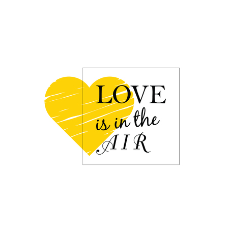 yellow heart: love is in the air with yellow heart illusration