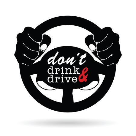 drink niet en drive-symbool illustratie op wit Stock Illustratie