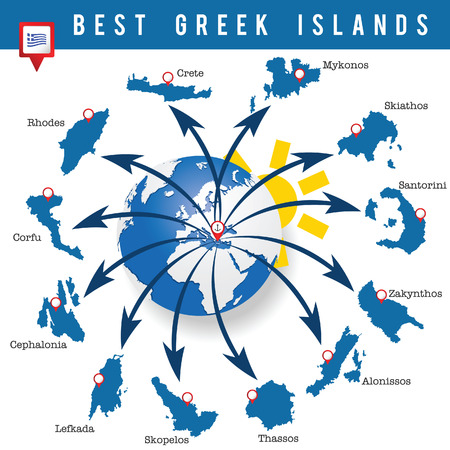 greek islands map illustration in colorful