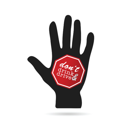 dont: dont drink and drive sign on hand illustration