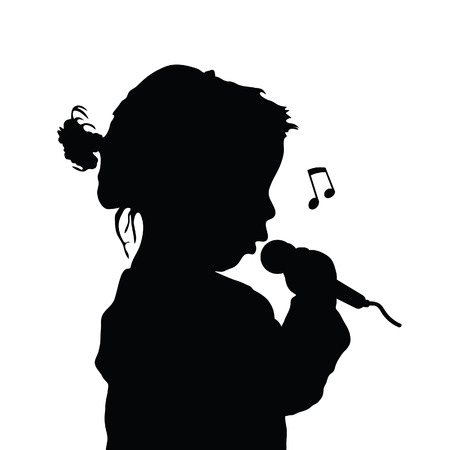 ni�o cantando: child singing silhouette illustration in black color