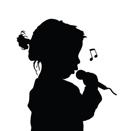 child singing silhouette illustration in black color