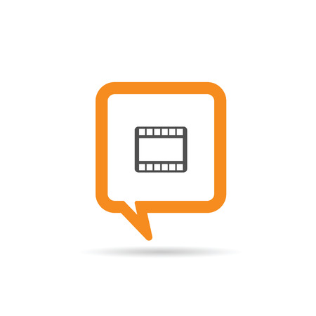 film tape: square orange speech bubble with film tape one icon illustration