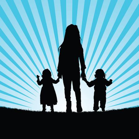 child standing: children in nature blue color silhouette illustration