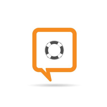 saver: square orange speech bubble with live saver icon illustration