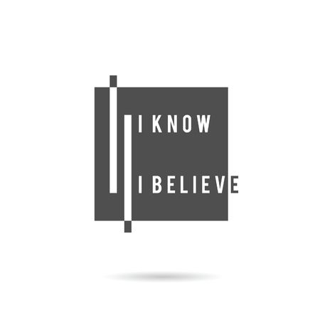 belive: know and belive icon illustration in grey