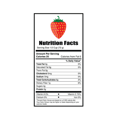 facts: nutrition facts strewberry value illustration