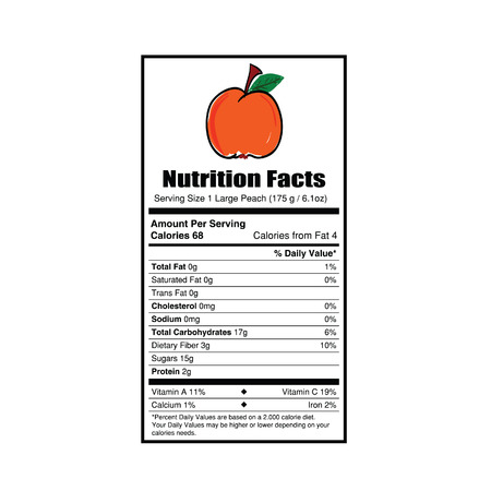 facts: nutrition facts peach value illustration