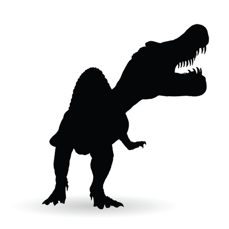 spinosaurus: spinosaurus vector black silhouette on white background Illustration