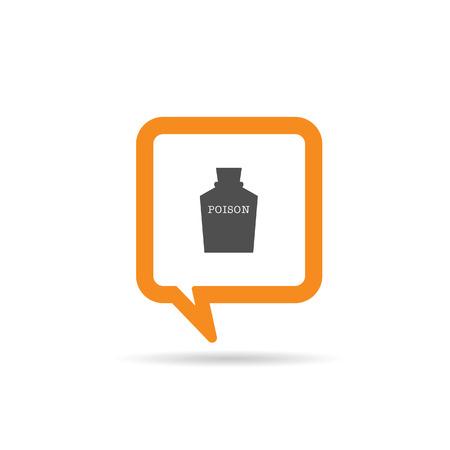 poison symbol: square orange speech bubble with poison icon illustration on white
