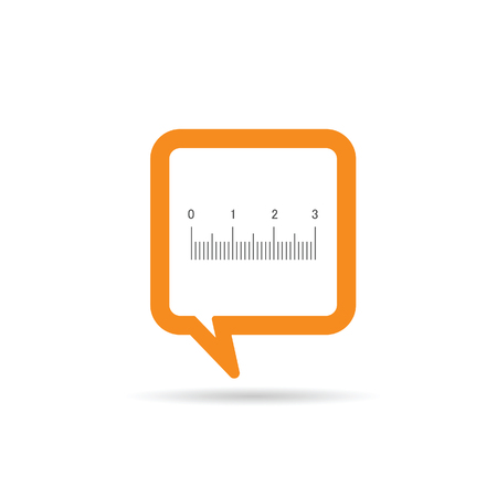 straightedge: square orange speech bubble with straightedge icon illustration on white