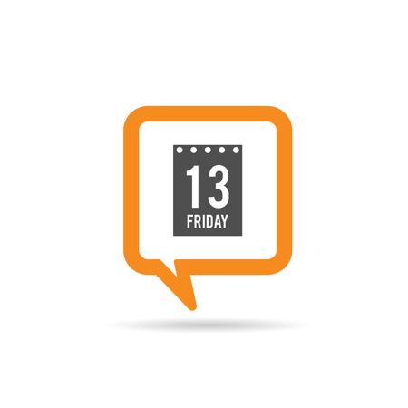 square orange speech bubble with friday 13 icon illustration on white